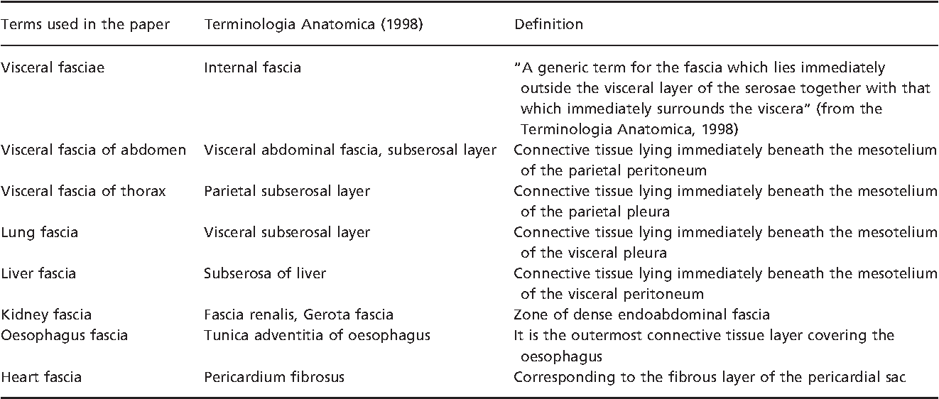 Table 1 from Microscopic anatomy of the visceral fasciae. - Semantic ...
