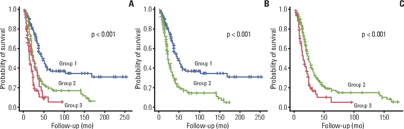 Fig. 2. Kaplan-Meier survival curves of risk groups defined by principal component analysis scores. Comparison of three risk groups (A); group 1 vs. group 2 (B); and group 2 vs. group 3 (C).