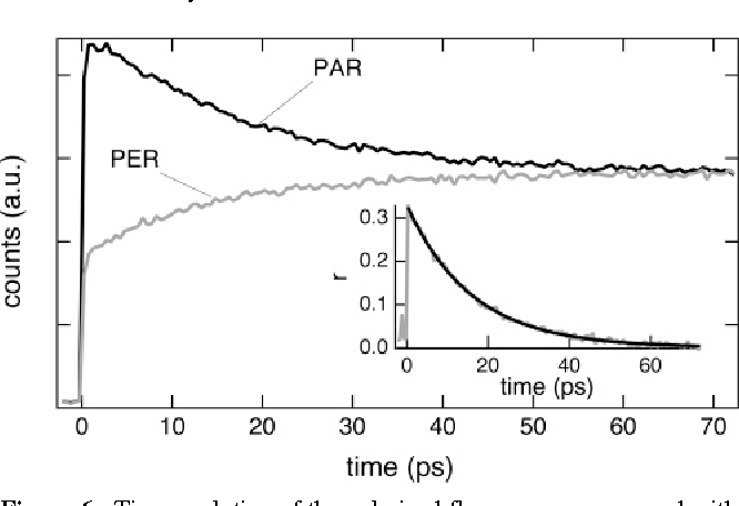 Figure 6. Time evolution of the polarized fluorescence measured with TMBDY in ACN at 525 nm after excitation at 400 nm. The inset shows the decay of the polarization anisotropy.