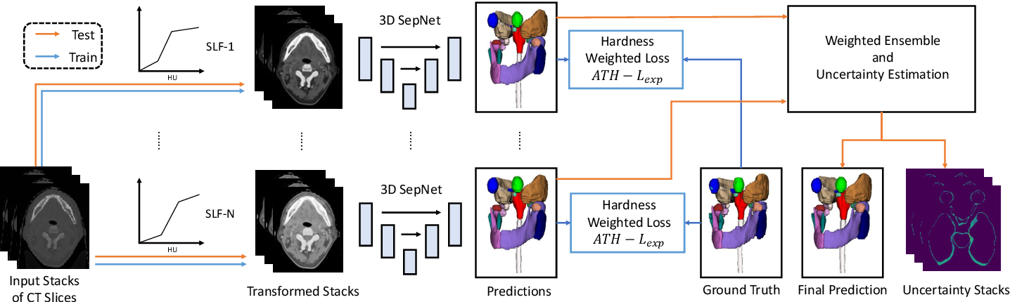 Figure 3 for Automatic Segmentation of Organs-at-Risk from Head-and-Neck CT using Separable Convolutional Neural Network with Hard-Region-Weighted Loss