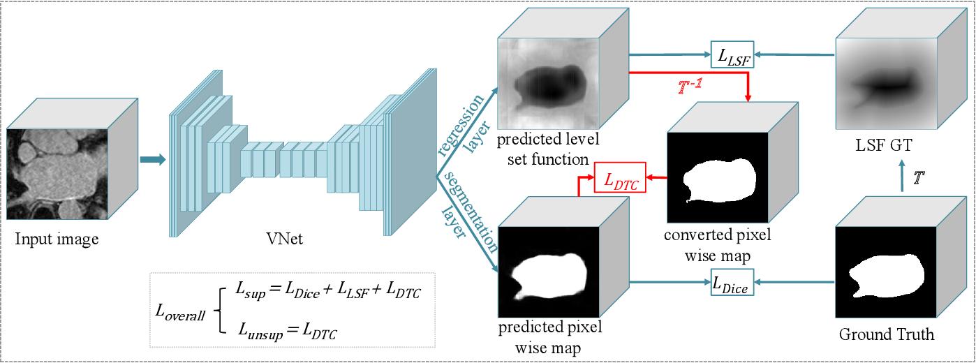 Figure 1 for Semi-supervised Medical Image Segmentation through Dual-task Consistency