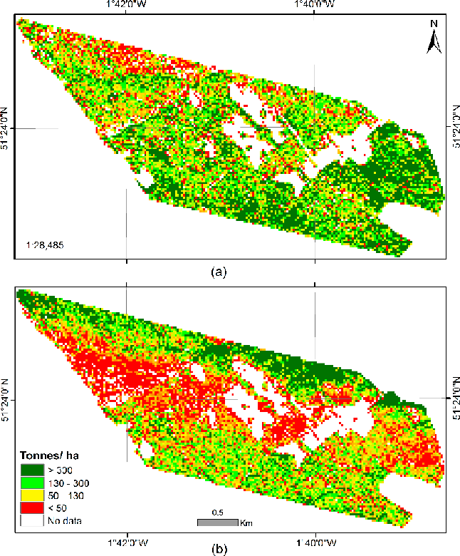 Figure 9. Predicted AGB maps using S-band HH backscatter at 25 m resolution for Savernake Forest in 2010 (a) and 2014 (b) using field biomass estimates.