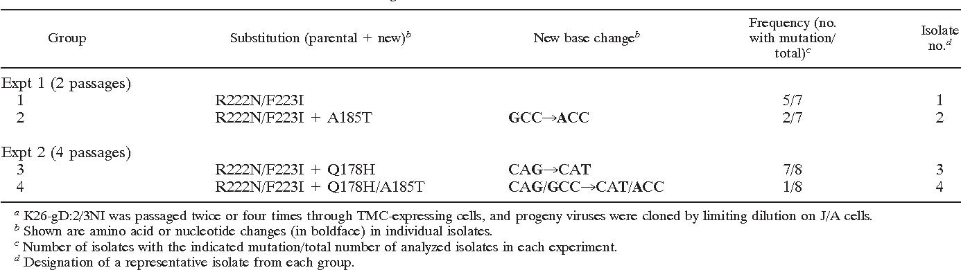 TABLE 1. gD mutations in selected virus isolatesa