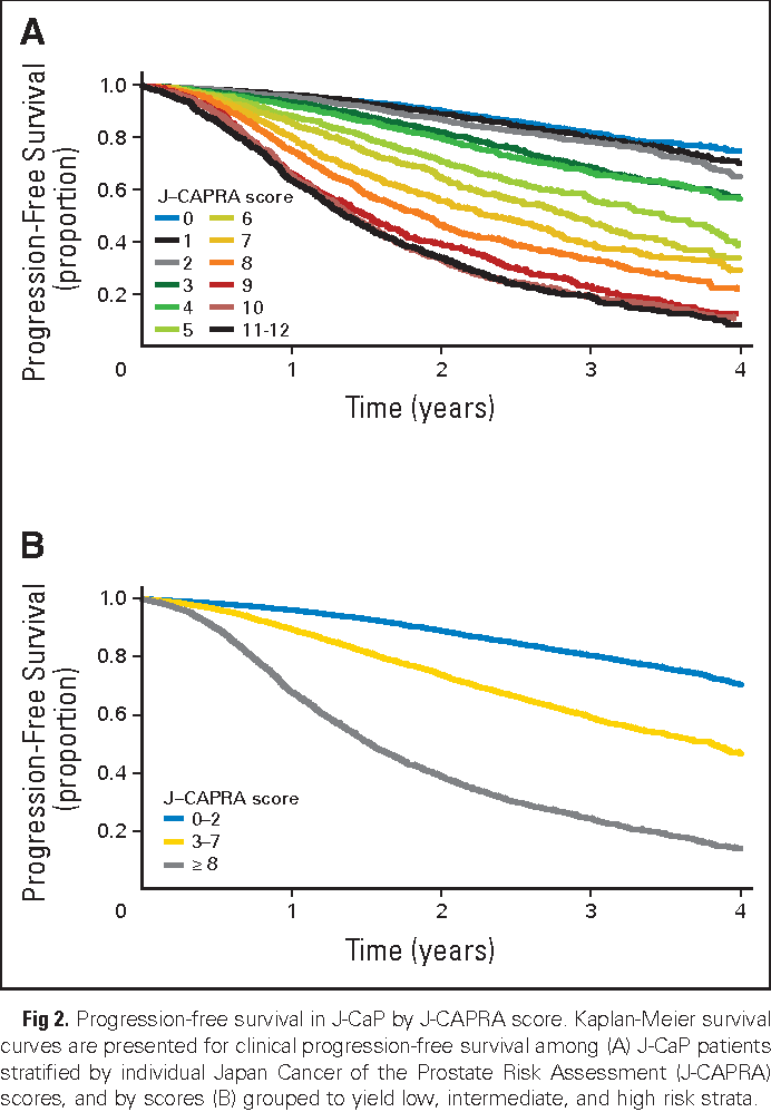 Fig 2. Progression-free survival in J-CaP by J-CAPRA score. Kaplan-Meier survival curves are presented for clinical progression-free survival among (A) J-CaP patients stratified by individual Japan Cancer of the Prostate Risk Assessment (J-CAPRA) scores, and by scores (B) grouped to yield low, intermediate, and high risk strata.