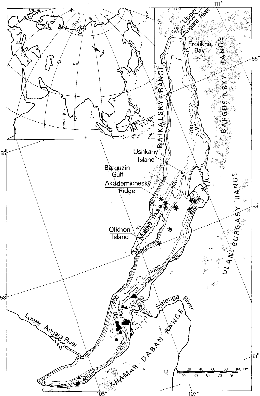 Figure 1 from oligochaeta from the abyssal zone of lake baikal location of lake baikal and the stations sampled in 1990 dots freerunsca Choice Image