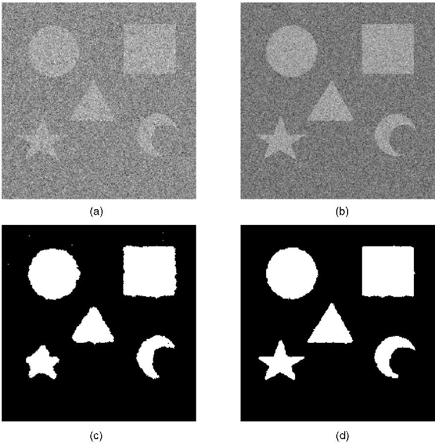 "Fig. 7. Segmentation of noisy ""Shapes"" image. (a) 0dBSNR image. (b) 5dBSNR image. (c) MMAP segmentation of (a). (d) MMAP segmentation of (b)."