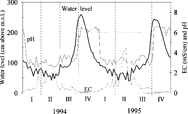 Fig. 3. Water level, pH and EC in canal `̀ 2000'', 1994±1995.
