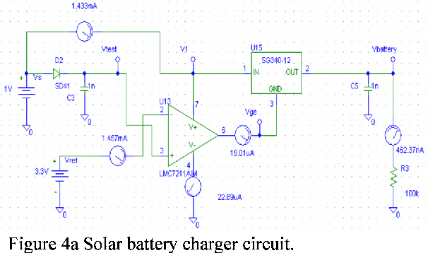 Figure 4a Solar battery charger circuit.