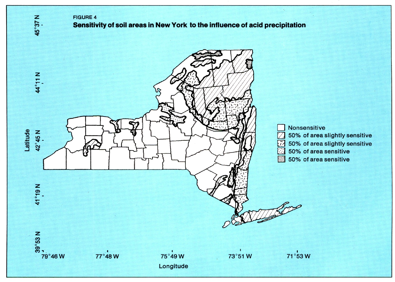 FIGURE 4 Sensitivity of soil areas in New York to the influence of acid precipitation