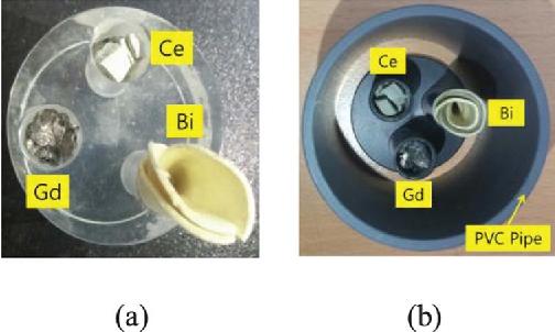 Fig. 4. Phantoms with inner metals. (a) Plastic phantom and (b) PVC pipe phantom.