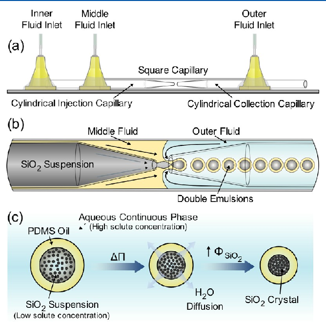 Assembly of colloidal silica crystals inside double emulsion drops
