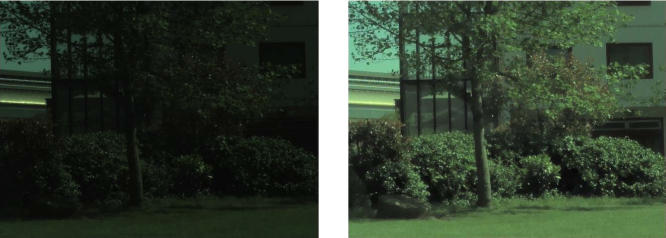 Figure 7. HDR image taken by our NDR setup. Right image is a logarithmically scaled representation of the image on the left and highlights the large dynamic range