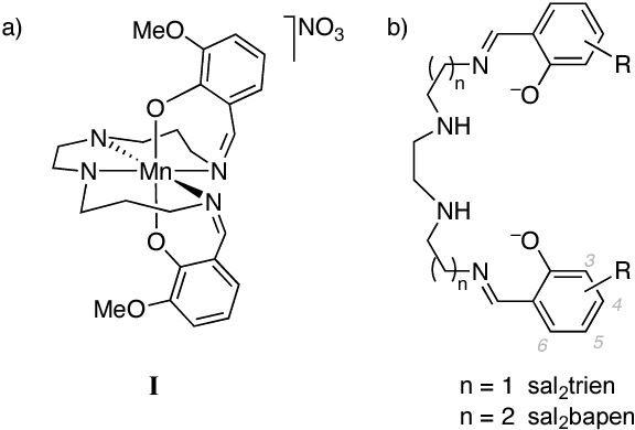 Fig. 1 a) SCO-active Mn(3-MeO-sal2bapen) complex I; b) ligand frameworks used in this work, including generalized carbon labeling 65 scheme for introducing substituents R at the phenolic ring