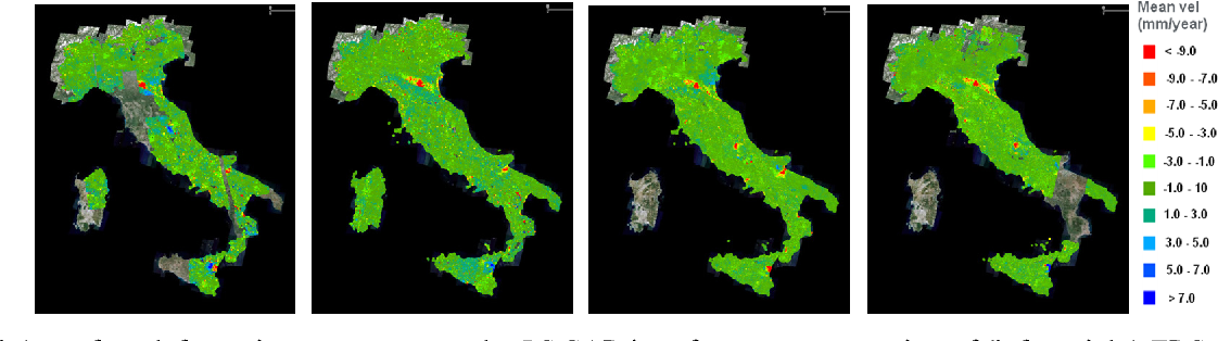 Fig. 1 –Italy's surface deformation measurements by PS SAR interferometry processing of (left to right) ERS ascending and descending data acquired from 1992 to 2000, and Envisat ascending and descending data acquired from 2003 to 2010.
