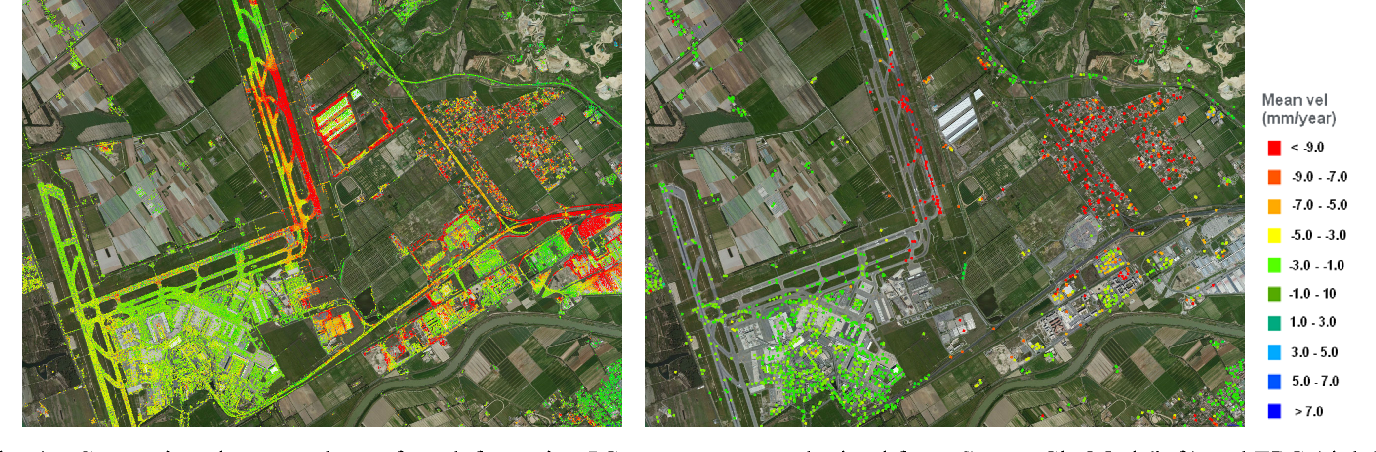 Fig. 4 – Comparison between the surface deformation PS measurements obtained from Cosmo-SkyMed (left) and ERS (right) SAR interferometric data over Fiumicino airport (Rome), Italy.
