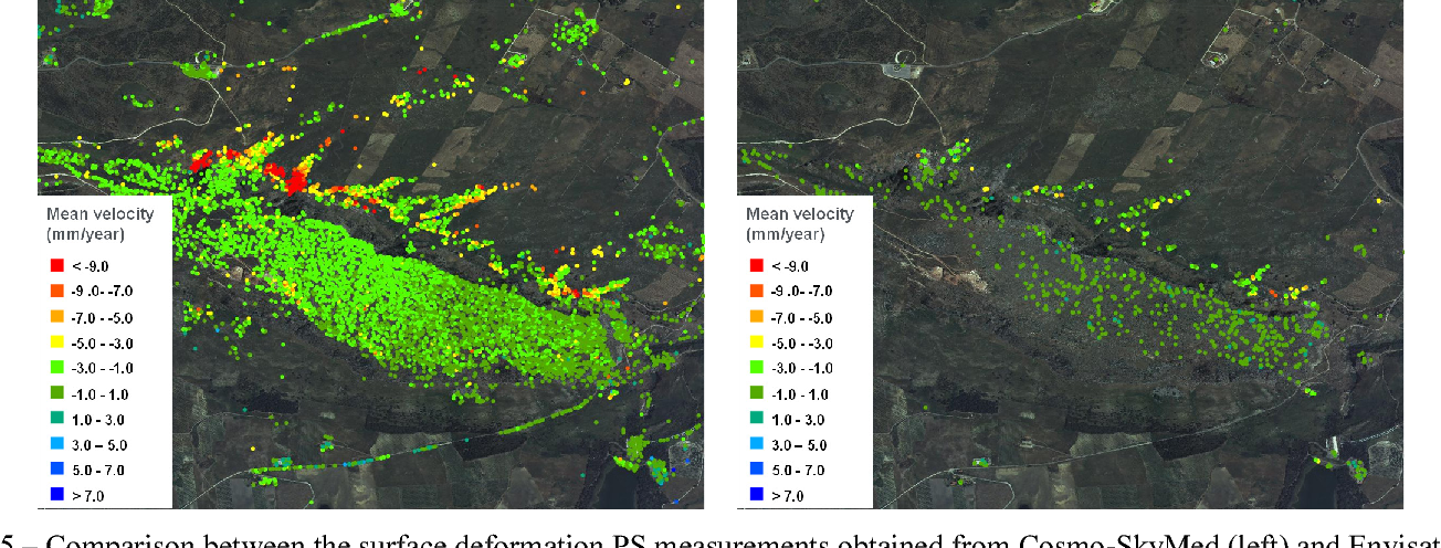 Fig. 5 – Comparison between the surface deformation PS measurements obtained from Cosmo-SkyMed (left) and Envisat (right) SAR interferometric data over a rural area close to Palermo, Italy, affected by landslide phenomena.