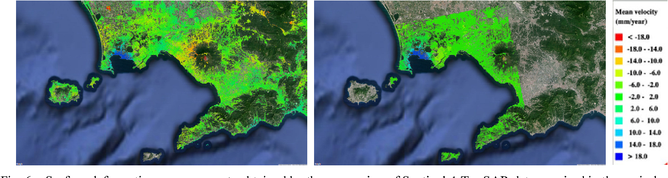 Fig. 6 – Surface deformation measurements obtained by the processing of Sentinel-1 TopSAR data acquired in the period 2014-2015 (left) and COSMO-SkyMed HIMAGE data taken in the period 2011-2014 (right) over the city of Naples, Italy.