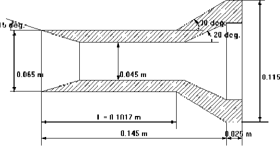 Figure 1: Geometrical definition of the cylinder-flare axisymmetric model