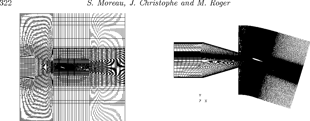Figure 6. Left: Grid topology of ECL small wind tunnel setup for initial RANS computation. Right: LES restricted domain including the nozzle and the shear layers (αw = 18 ◦).