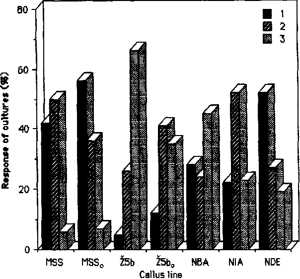 Fig. 3. The effect of cell line and somatic embryo induction medium on [he response of culLures Lrensferred Lo the conversion medium MS MS salLs+l 1,4#M IAA. Results scored after 180 days (8 sub-