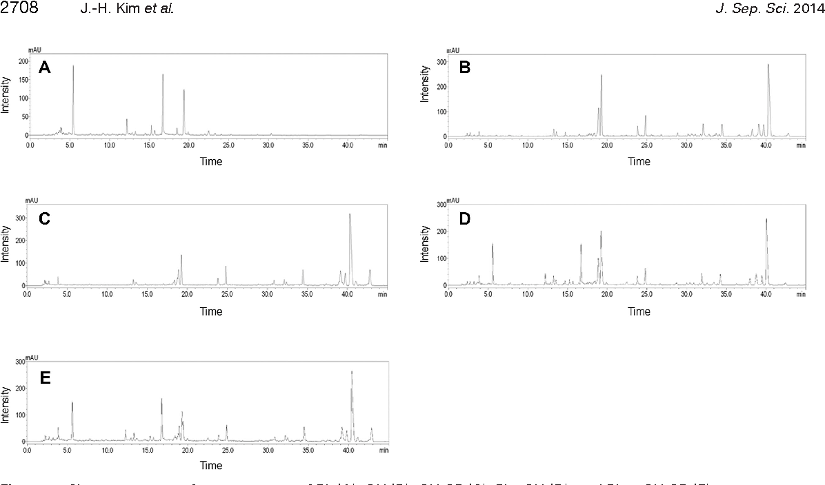 Figure 4. Chromatograms of water extracts of PL (A), GU (B), GU-SB (C), PL+GU (D), and PL + GU-SB (E) at 250 nm.