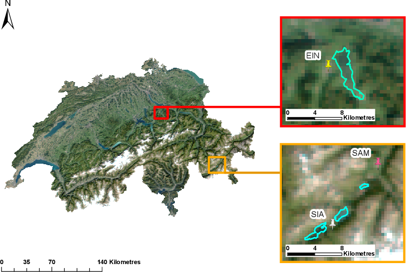Figure 1 for Recent Ice Trends in Swiss Mountain Lakes: 20-year Analysis of MODIS Imagery