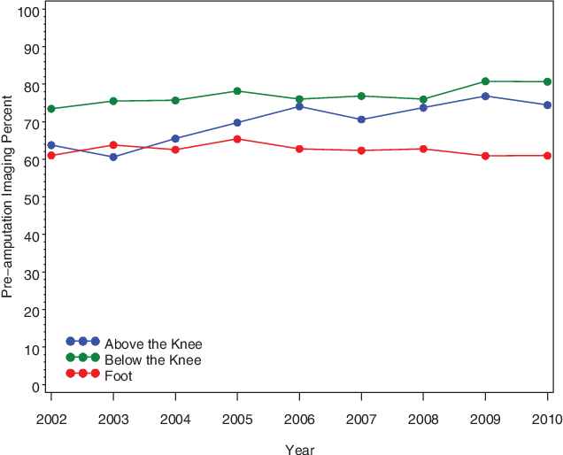 Figure 1. Trends in unadjusted rates of arterial testing before amputation by amputation location, 2002 to 2010.