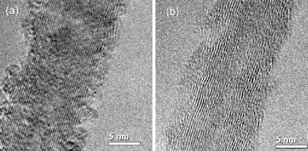 Fig. 5. TEM image of a portion of MWCNT #7 (a) before, and (b) after tensile testing. Thus, (b) allows for a measurement of the outer diameter of the fragment after fracture, in the same region as the original MWCNT prior to fracture