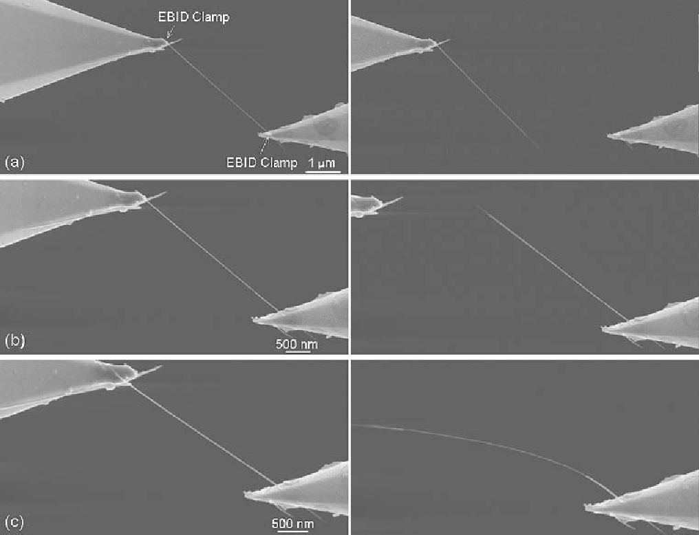 Fig. 7. SEM images showing the results of three sequential tensile tests on the outer shell of MWCNT #6, as described further in the text