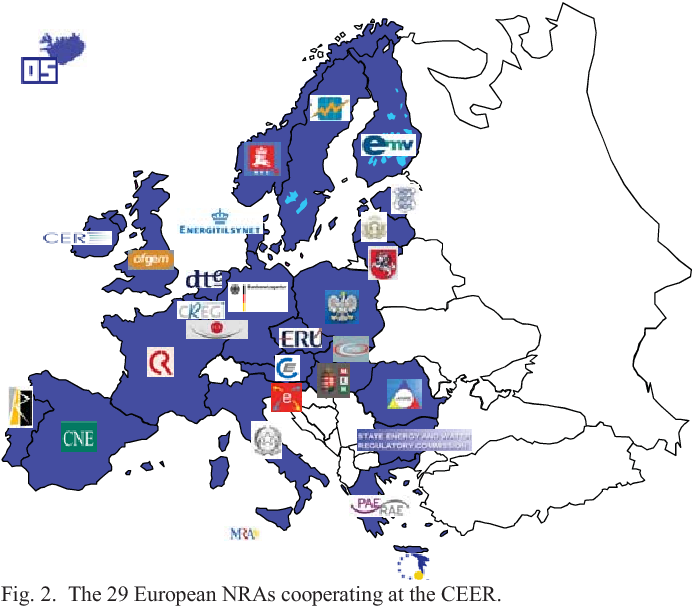 Fig. 2. The 29 European NRAs cooperating at the CEER.
