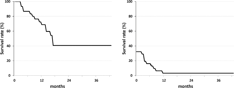 Figure 4. Kaplan-Meier analysis of overall survival and progression free survival distributions for 31 patients with advanced malignant bone and soft tissue tumors.
