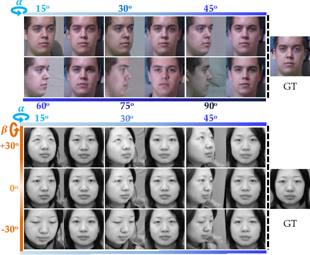 Figure 1 for Dual-Attention GAN for Large-Pose Face Frontalization