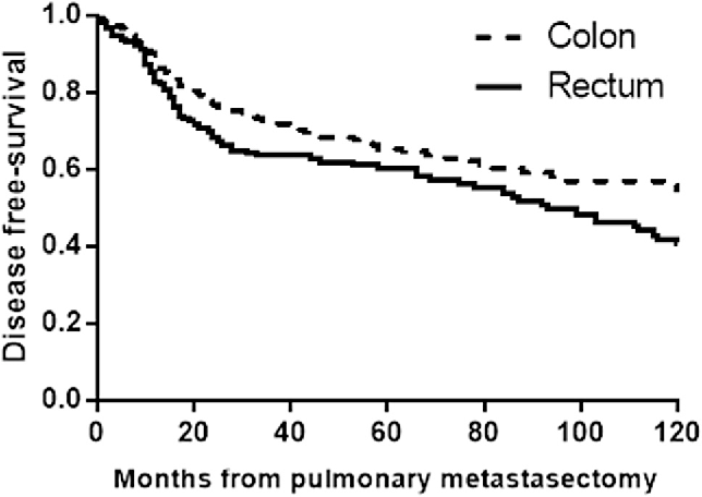 Fig 3. Disease-free survival rate after pulmonary metastasectomy depending on the location of the primary colorectal cancer in the rectum (solid line) or the colon (dashed line; p ¼ 0.004).