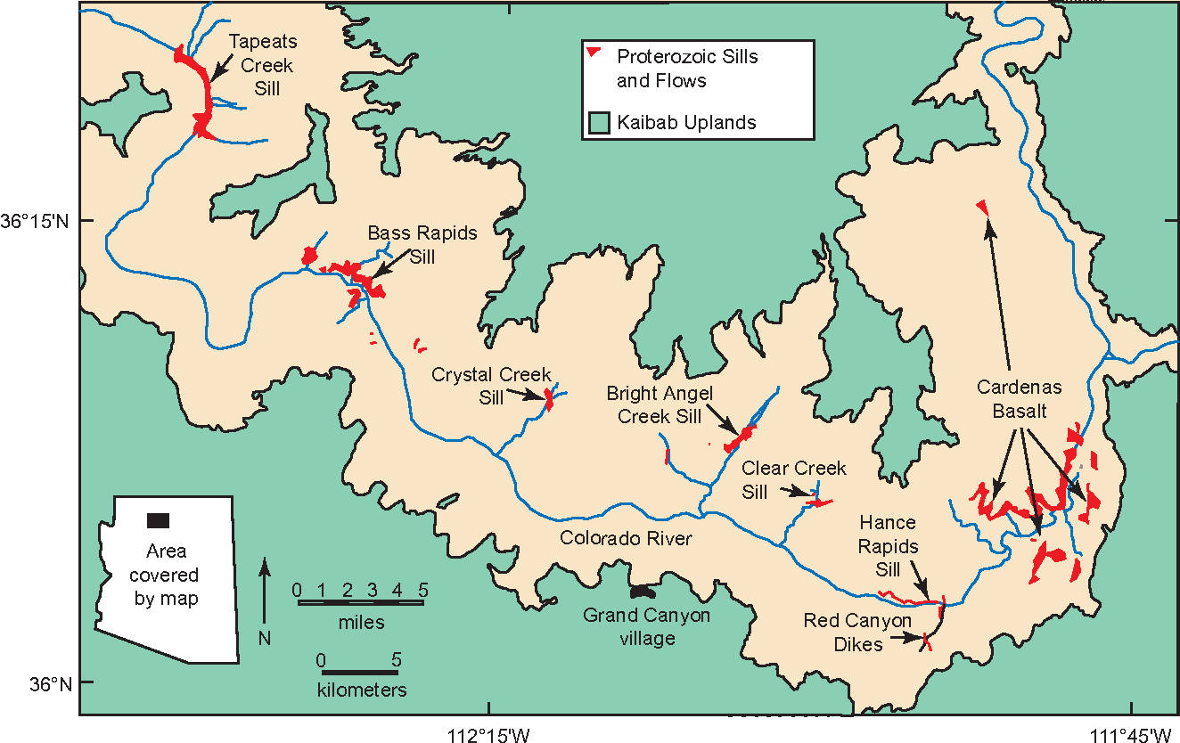 Figure 2. Location of Cardenas Basalt and Precambrian diabase in eastern Grand Canyon.