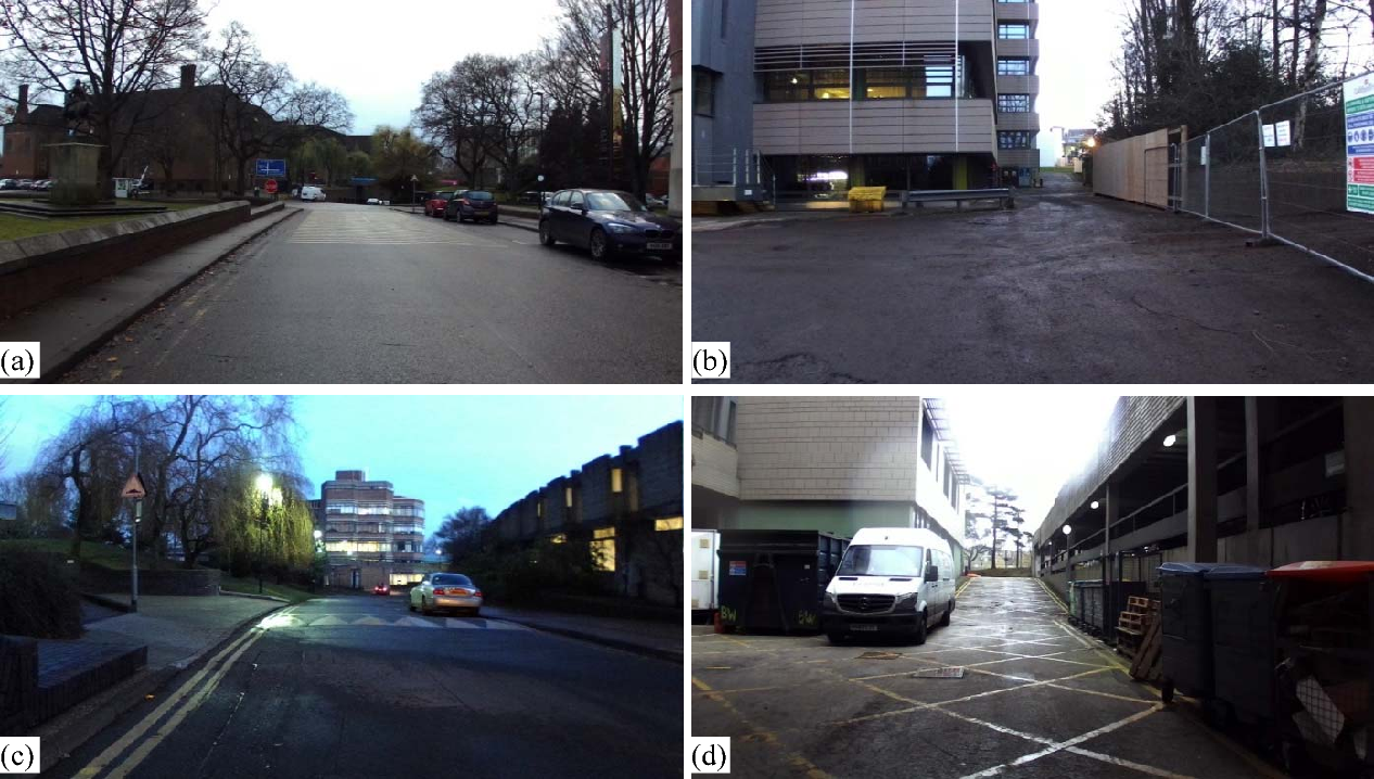 Figure 3. Images of a selection of road scenes imaged during 150 GHz radar experimentation. (a) Rumble strip scene, (b) rough/deep potholed area, (c) speed bump, (d) inclined area and multi-object scene.