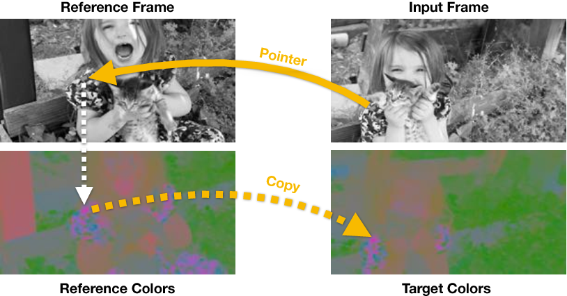 Figure 1 for Tracking Emerges by Colorizing Videos