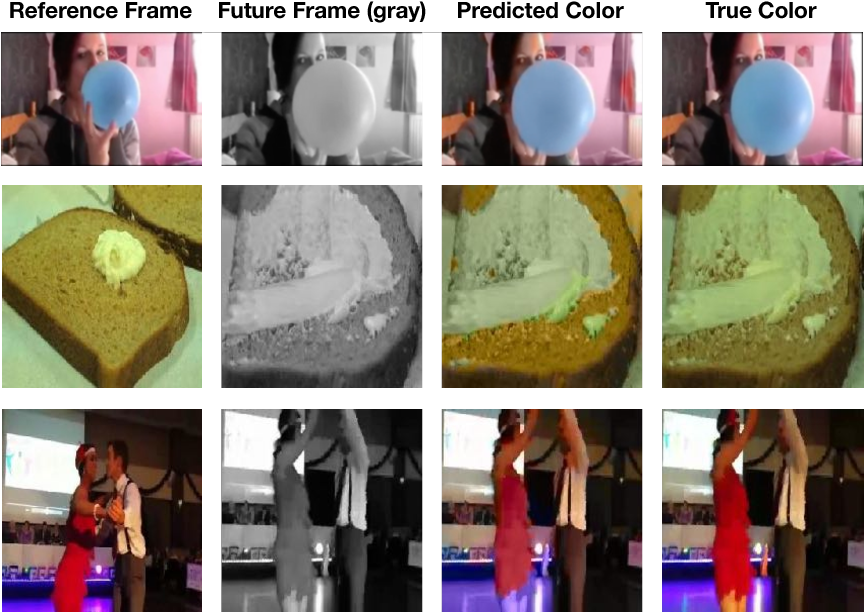 Figure 4 for Tracking Emerges by Colorizing Videos