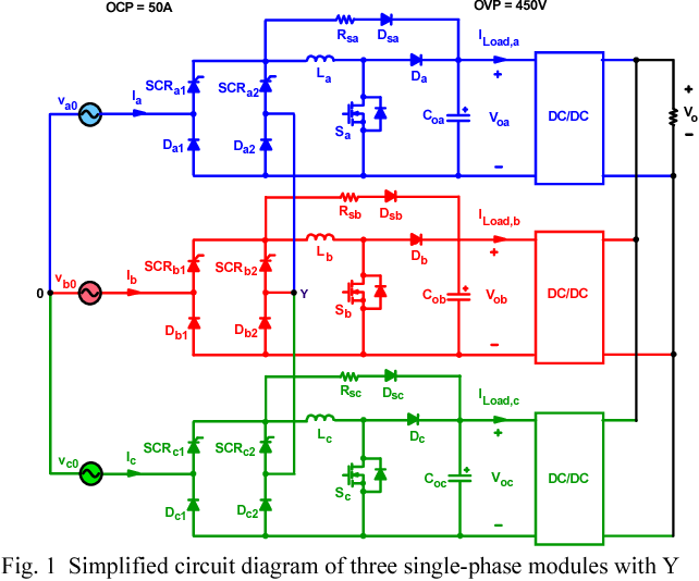 1 simplified circuit diagram of three single-phase modules with y  connection at