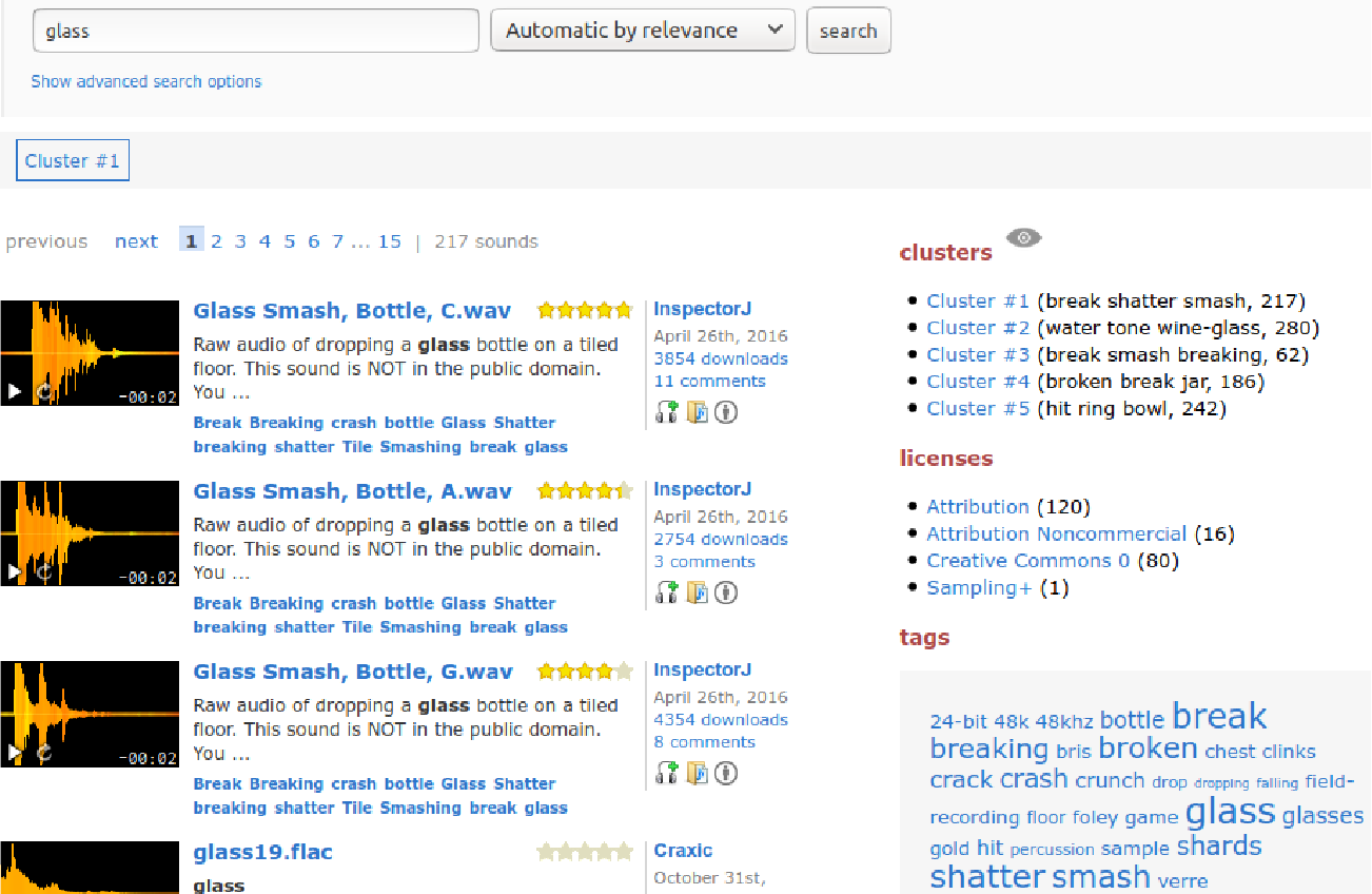 Figure 3 for Search Result Clustering in Collaborative Sound Collections