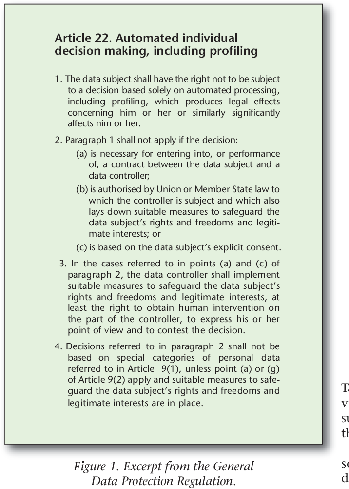 """Figure 1 for European Union regulations on algorithmic decision-making and a """"right to explanation"""""""