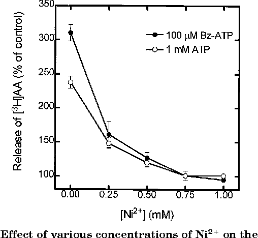 FIG. 3. Effect of various concentrations of Ni21 on the release of [3H]AA from RSMG ductal cells stimulated with ATP or BzATP. [3H]AA-labeled ductal cells were washed and resuspended in a magnesium-free HBS medium containing 0.125% BSA. Cells were stimulated with 1 mM ATP (E) or 100 mM Bz-ATP (●) in the presence of 0.5 mM CaCl2 and increasing concentrations of Ni 21. The reaction was carried out at 37 °C and stopped by centrifugation 20 min after stimulation. The radioactivity of the supernatants was measured, and the results are expressed as percentage of radioactivity with respect to unstimulated controls as stated in Fig. 2. Data represent mean 6 S.E. of three independent experiments performed in triplicate.