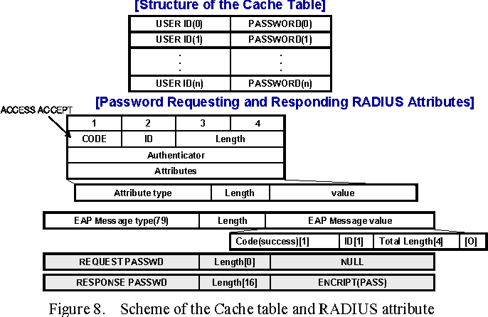 Figure 8. Scheme of the Cache table and RADIUS attribute