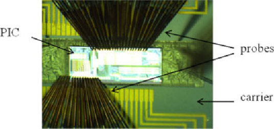 Fig. 5. Microscope image of the PIC on the setup contacted by multiprobes.