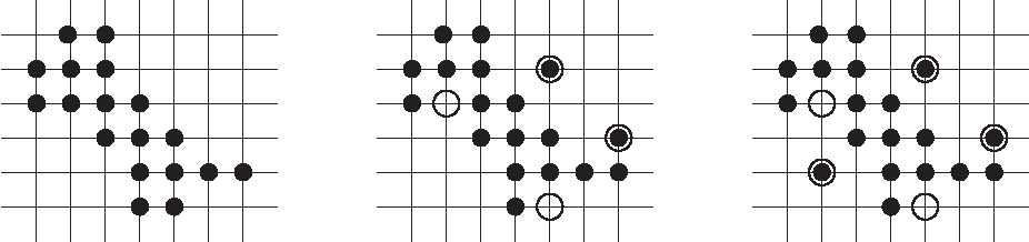 Figure 2: A discrete set of the class HV10 (center) and one of HV15 (right) derived from an hv-convex polyomino (left). Altered positions are marked by circles.