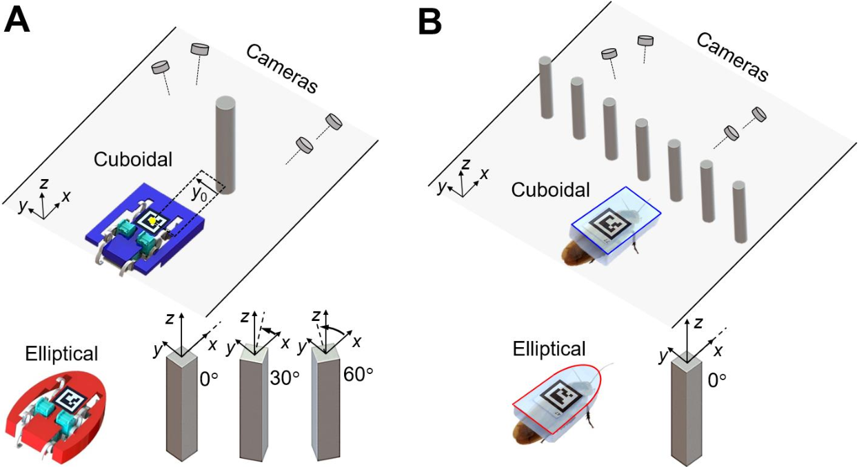 Figure 1 for Shape-induced obstacle attraction and repulsion during dynamic locomotion