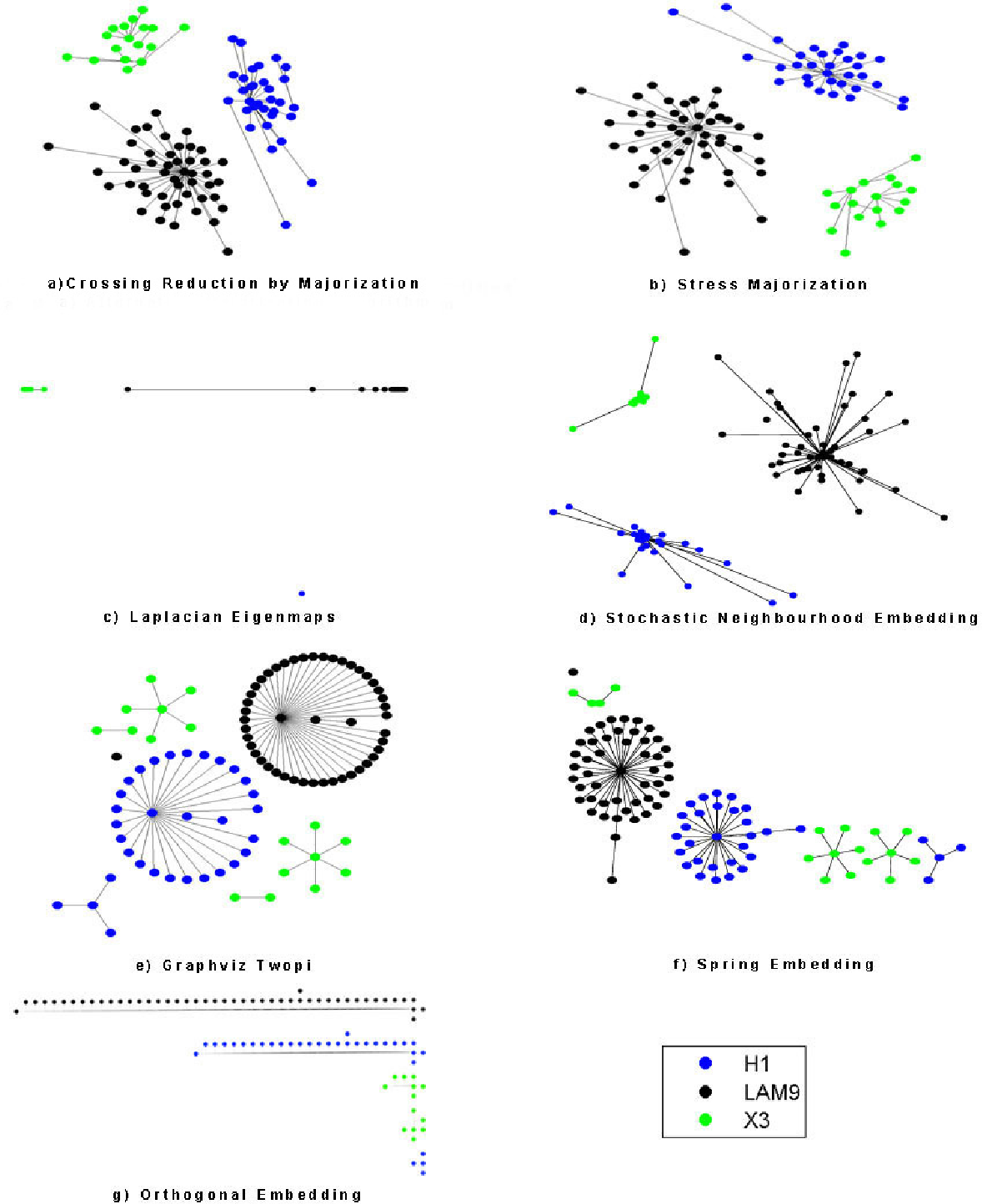 Figure 8: Embeddings of spoligoforests of H-X-LAM sublineages by 7 algorithms (a) CRSM (b) MDS (c) Laplacian Eigenmaps (d) Stochastic Neighborhood Embedding (SNE) (e) Graphviz Twopi (f) Spring Embedding (g) Orthogonal Embedding.
