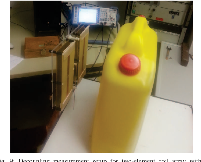 Fig. 9: Decoupling measurement setup for two-element coil array with a reactively loaded parasitic antenna.