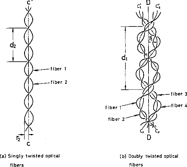 Fig. 1. Singly and doubly twisted optical fibers.