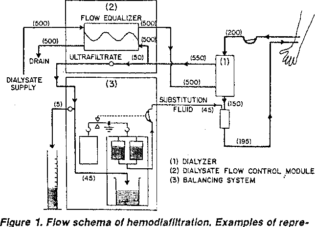 Figure 1. Flow schema of hemodiaflHratlon. Examples of represeniatlve flow rates ( ml/min) under standard operating conditions are shown in the parentheses.