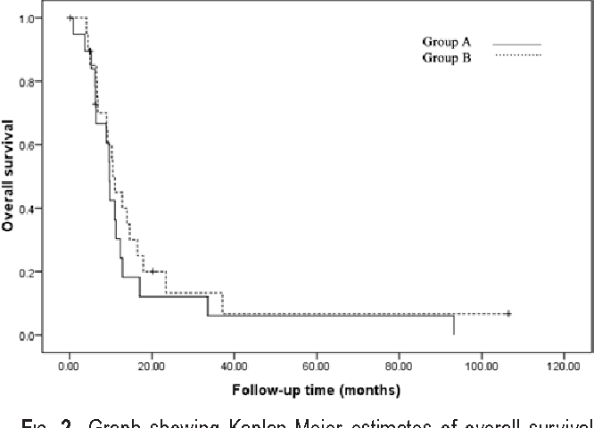 Fig. 2. Graph showing Kaplan-Meier estimates of overall survival after resection in patients with multifocal or multicentric glioblastoma (Group A) and patients with solitary glioblastoma (Group B).
